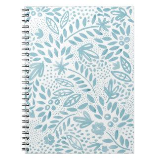 Caderno espiral floral azul do Belle