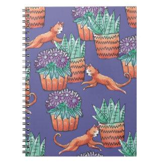 Caderno Espiral floral cats