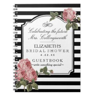 Caderno Espiral Floral com o Guestbook feminino do chá de panela