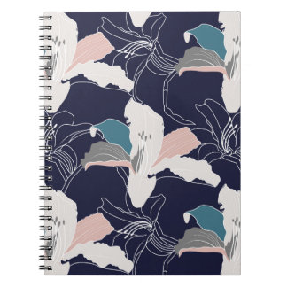 Caderno espiral floral tropical do marinho
