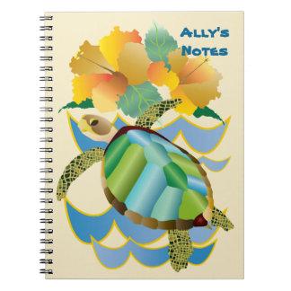 Caderno Espiral Flores amarelas tropicais bonito do hibiscus da