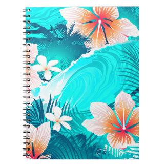 Caderno Espiral Flores do hibiscus na praia