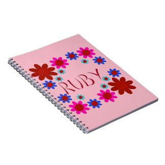 Caderno Espiral Flores do RUBI