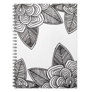 Caderno Espiral Flores monocromaticas