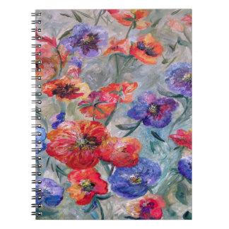 Caderno Espiral Flores no campo do verde