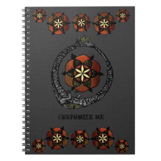 Caderno Espiral FlouroborosOfLife (Ouroboros & FlowerOfLife)
