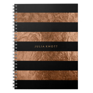 Caderno Espiral Folha de cobre do falso de PixDezines/listras