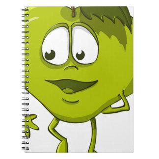 Caderno Espiral Folha engraçada do personagem de desenho animado