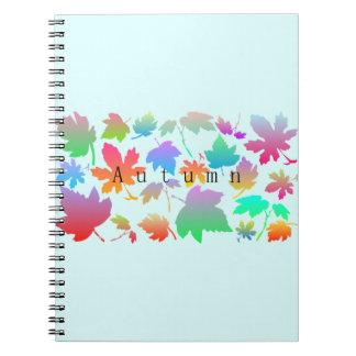 Caderno Espiral Folhas de outono coloridas