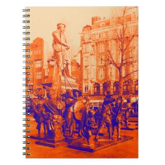 Caderno Espiral foto digital de Amsterdão da estátua rembrant