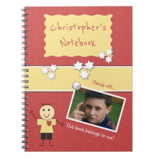Caderno Espiral Foto personalizada do vermelho dos miúdos