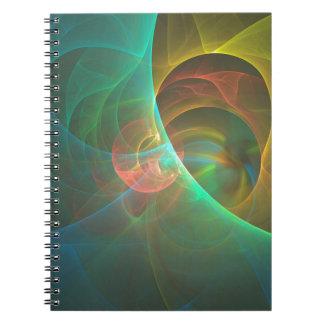 Caderno Espiral Fractal abstrato colorido