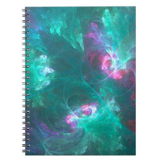 Caderno Espiral Fractal abstrato em uma paleta fria