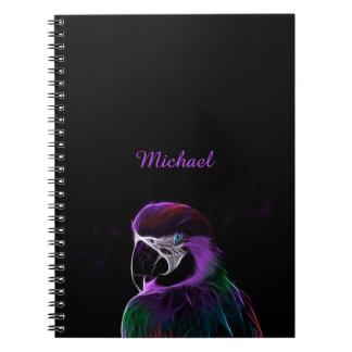 Caderno Espiral Fractal roxo do papagaio de Digitas