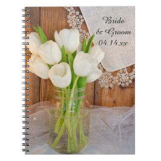 Caderno Espiral Frasco de pedreiro e casamento branco do celeiro