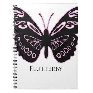 Caderno Espiral Fulgor cor-de-rosa preto de Flutterby