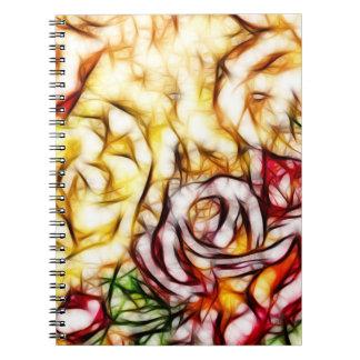 Caderno Espiral Fulgor floral artístico do rosa abstrato da luz