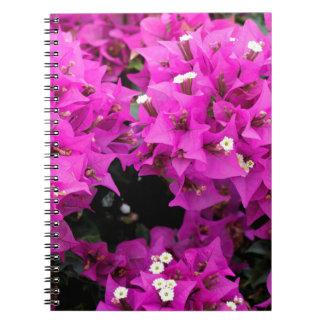 Caderno Espiral Fundo fúcsia roxo do Bougainvillea