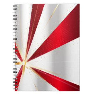 Caderno Espiral Fundo vermelho e de prata