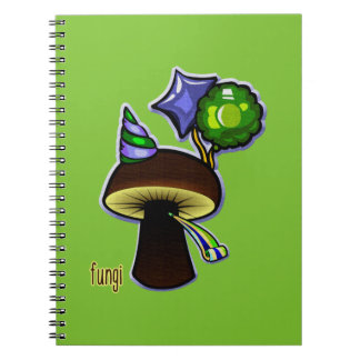 Caderno Espiral Fungos - desenhos animados maus da chalaça
