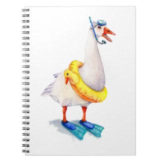 Caderno Espiral Ganso branco Snorkeling