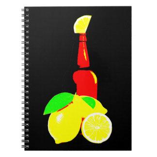 Caderno Espiral Garrafa da cerveja e dos limões