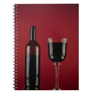 Caderno Espiral Garrafa de vidro de vermelho de vinho