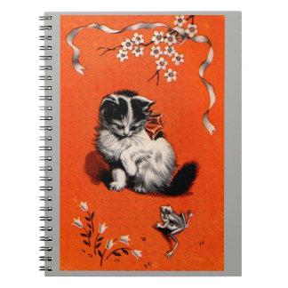 Caderno Espiral gatinho e sapo pequenos doces
