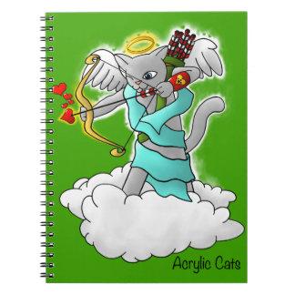 Caderno Espiral Gato cinzento do Cupido de Smokey do dia dos