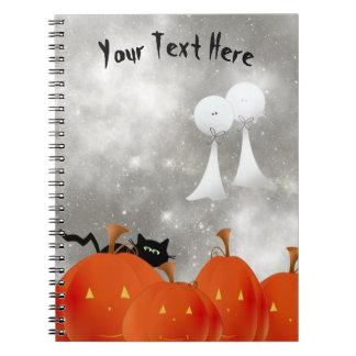 Caderno Espiral Gato preto das abóboras alaranjadas grandes e dois