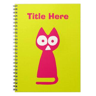 Caderno Espiral Gato verde-amarelo magenta do triângulo