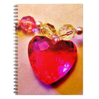Caderno Espiral Gema cor-de-rosa do coração