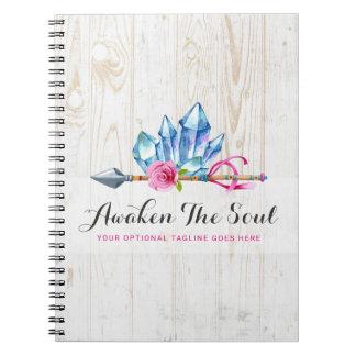 Caderno Espiral Gemas & aguarela de cristal boémias rústicas da