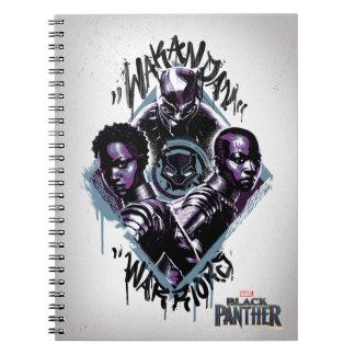 Caderno Espiral Grafites dos guerreiros da pantera preta |