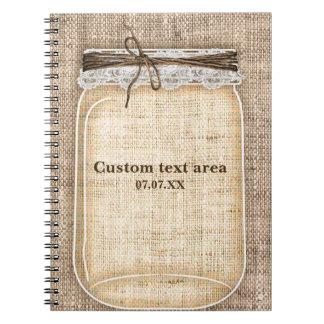 Caderno Espiral Grande frasco de pedreiro com serapilheira & laço