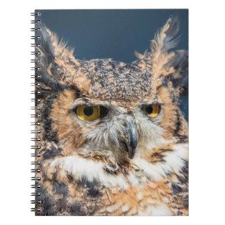 Caderno Espiral Grande retrato da coruja Horned