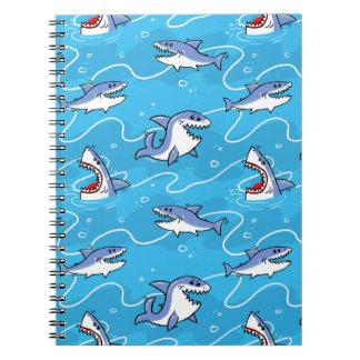 Caderno Espiral Grandes tubarões brancos dos desenhos animados