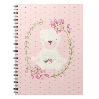 Caderno Espiral Grinalda floral e corações do urso bonito