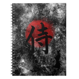 Caderno Espiral Grunge 2 do samurai do Kanji