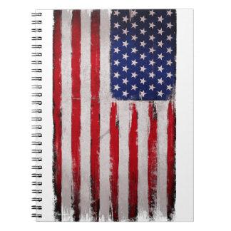 Caderno Espiral Grunge da bandeira dos EUA