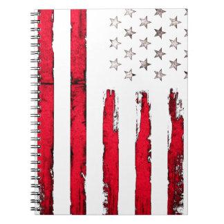 Caderno Espiral Grunge do vermelho da bandeira americana