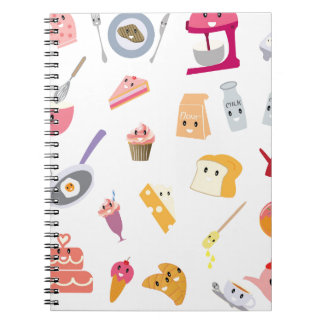 Caderno Espiral Grupo bonito do ícone da cozinha da bebida e do