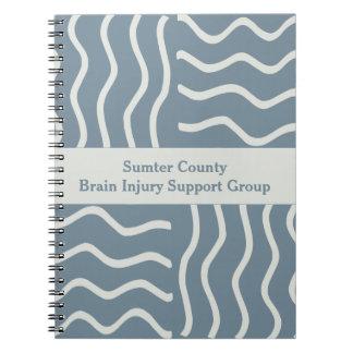 Caderno Espiral Grupo de apoio cinzento elegante da lesão cerebral