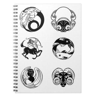 Caderno Espiral Grupo do ícone dos sinais da estrela do horóscopo