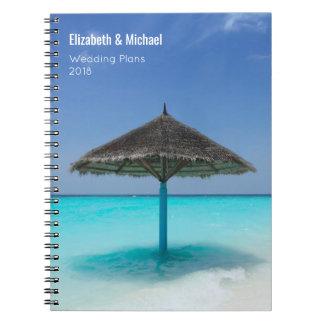 Caderno Espiral Guarda-chuva Thatched em planos tropicais do