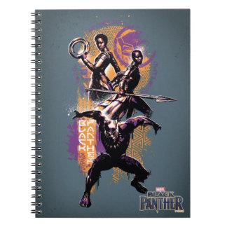 Caderno Espiral Guerreiros da pantera preta | Wakandan pintados