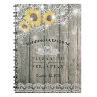 Caderno Espiral Guestbook de madeira do casamento da luz da corda