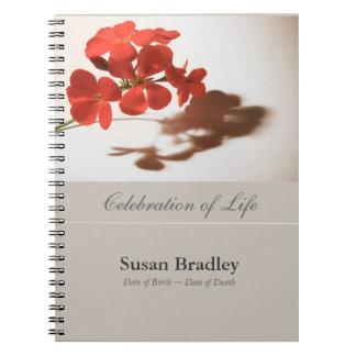 Caderno Espiral GuestBook floral do funeral da fotografia do