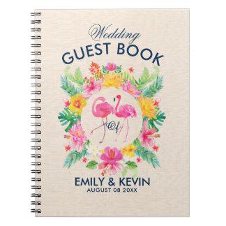 Caderno Espiral Guestbook tropical do casamento da grinalda dos
