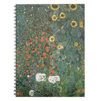 Caderno Espiral Gustavo Klimt - flores dos girassóis do jardim do